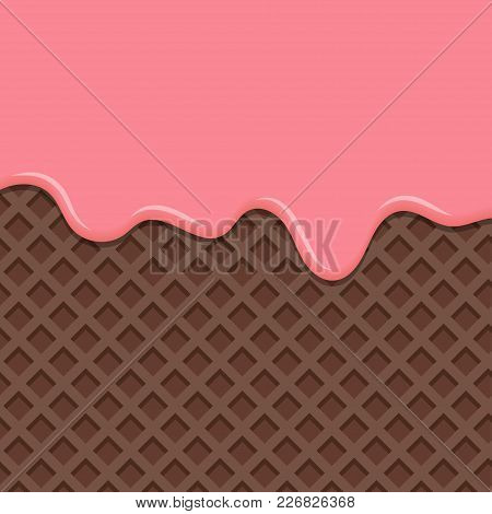 Sweet Waffle With Pink Glaze. Dessert With Pink Cream, Melted On Wafer Background. Vector Illustrati