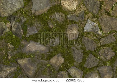 Abstract Background Green Mossy And Gray Stone Wall