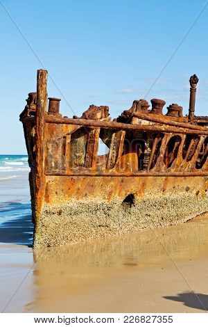 The Antique Rusty And Damagede Boat And  Corrosion