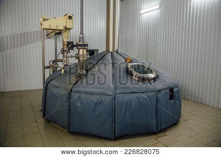 Steel Fermentation Mash Vat At Modern Brewery.