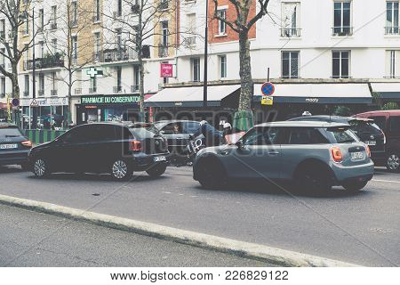 Paris, France - Jan 30, 2018: Filtered Image Of Car Accident On Paris Street Between Luxury Limousin