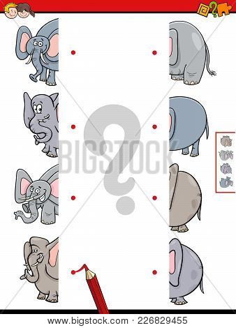 Match Halves Of Elephant Educational Game