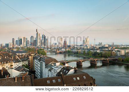 Frankfurt Am Main. Image Of Frankfurt Am Main Skyline At Morning In Germany.