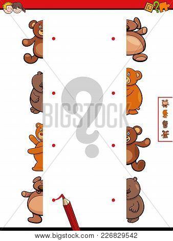 Match Teddy Bears Halves Cartoon Game