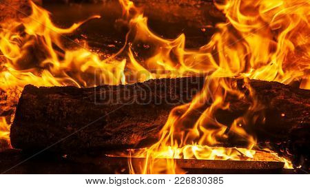 Burning Wood In The Fireplace Close-up, Flame Texture, Fire Background