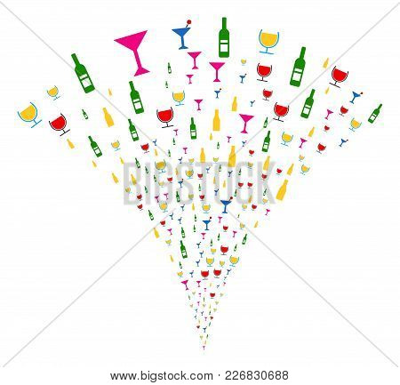 Alcohol Bar Drinks Explosion Fountain. Vector Illustration Style Is Flat Iconic Symbols. Object Foun