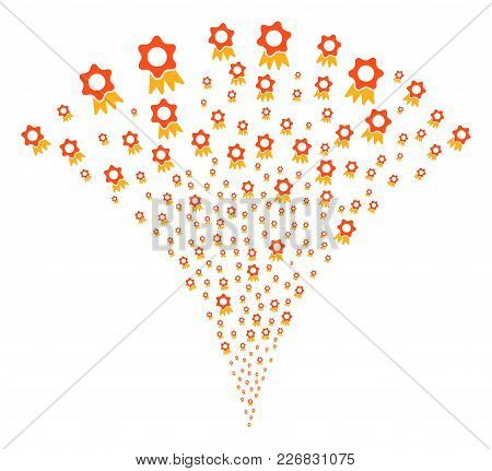 Award Burst Fountain. Vector Illustration Style Is Flat Iconic Symbols. Object Fountain Combined Fro