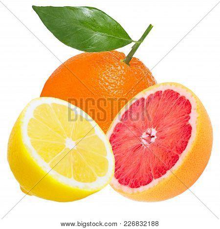 Isolated Various Fruits. Whole Fresh Fruits ( Orange, Lemon And Grapefruit) Isolated On White Backgr