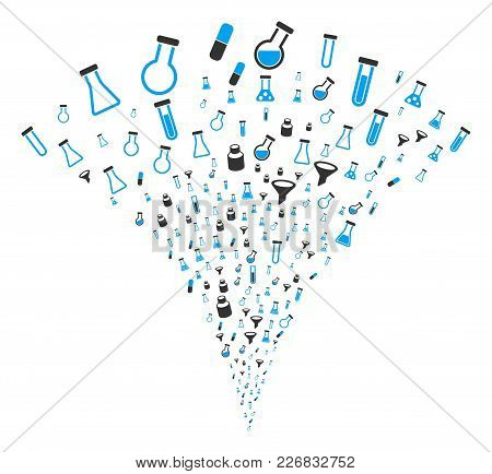 Chemistry Tubes Burst Fountain. Vector Illustration Style Is Flat Iconic Symbols. Object Fountain Or