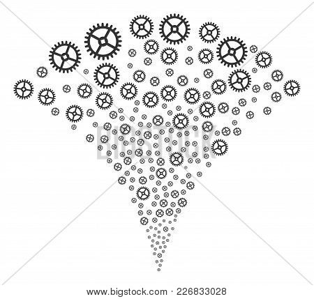 Clock Gear Festive Fountain. Vector Illustration Style Is Flat Iconic Symbols. Object Fountain Organ