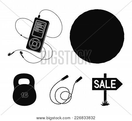 Ball, Player And Other Equipment For Training.gym And Workout Set Collection Icons In Black Style Ve