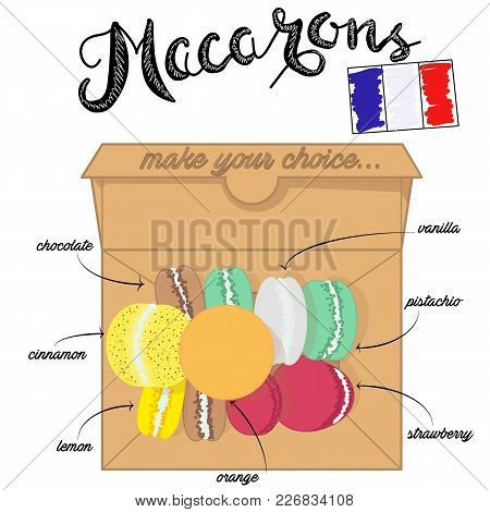 Vector Illustration Of French Macaroons. French Traditional Pastry Shop. Cardboard Box Of Macaroons