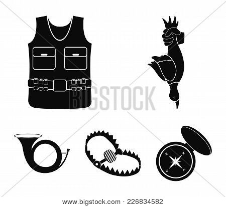 A Trophy In His Hand, A Steel Trap, A Hunting Vest With Patronage, A Horn..hunting Set Collection Ic