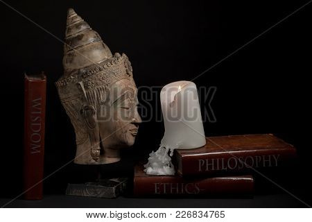 Philosophy Ethics And Wisdom. Buddhist Enlightenment And Religious Education. Traditional Buddha Hea