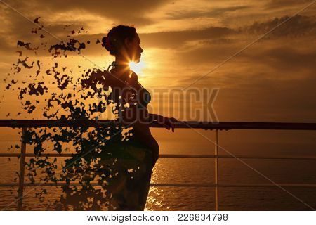 Woman on the deck splits into pieces at sunset, collage