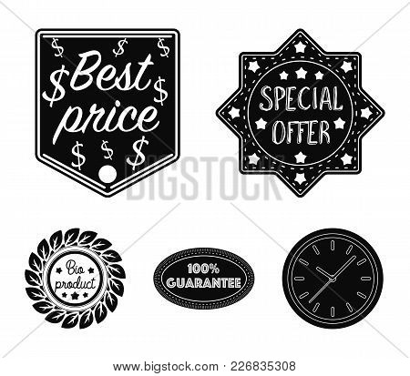 Special Offer, Best Prise, Guarantee, Bio Product.label, Set Collection Icons In Black Style Vector