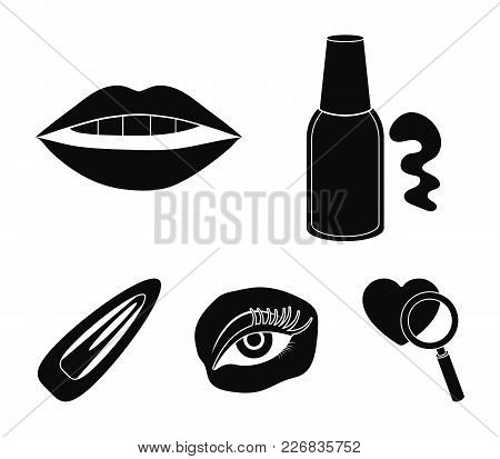 Nail Polish, Tinted Eyelashes, Lips With Lipstick, Hair Clip.makeup Set Collection Icons In Black St