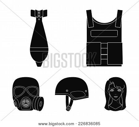 Bullet-proof Vest, Mine, Helmet, Gas Mask. Military And Army Set Collection Icons In Black Style Vec