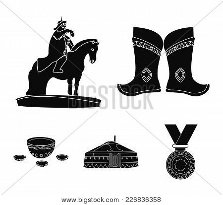 Military Boots, A Monument To The Rider, A National Tent, A Milk Drink. Mongolia Set Collection Icon