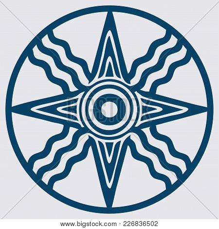 Vector Variant Of Old Semitic And Sumerian God Shamash Star. Also Symbol Of God Utu.