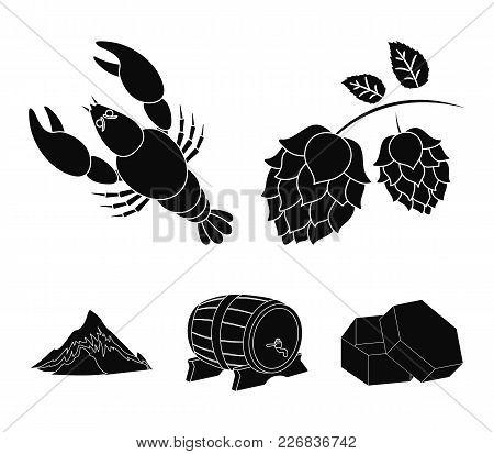 Alps, A Barrel Of Beer, Lobster, Hops. Oktoberfestset Collection Icons In Black Style Vector Symbol