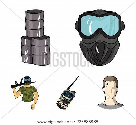 Equipment, Mask, Barrel, Barricade .paintball Set Collection Icons In Cartoon Style Vector Symbol St