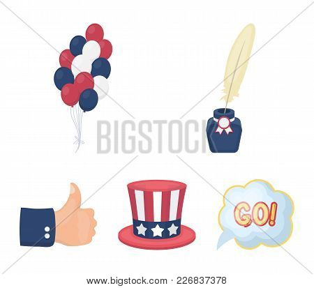 Balloons, Inkwell With A Pen, Uncle Sam's Hat. The Patriot's Day Set Collection Icons In Cartoon Sty