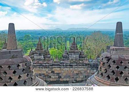 Buddist Temple Borobudur Taken at Sunrise. Yogyakarta, Indonesia