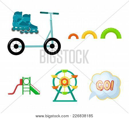 Ferris Wheel With Ladder, Scooter. Playground Set Collection Icons In Cartoon Style Vector Symbol St
