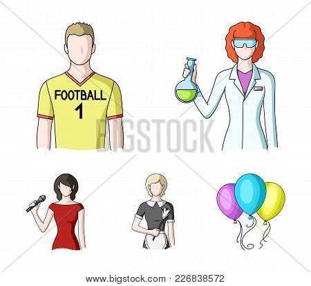 Woman Chemist, Football Player, Hotel Maid, Singer, Presenter.profession Set Collection Icons In Car