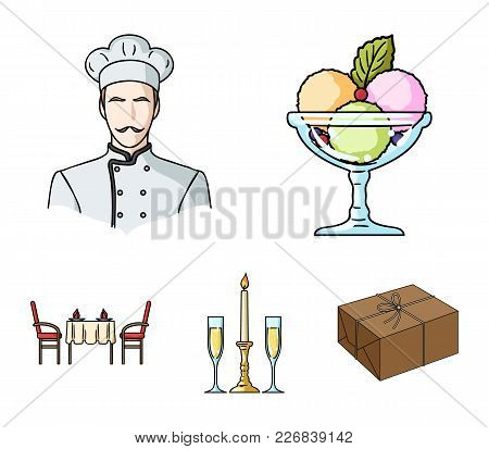 Ice Cream With Fruit, Chef, Candle And Glasses, A Covered Table.restaurant Set Collection Icons In C