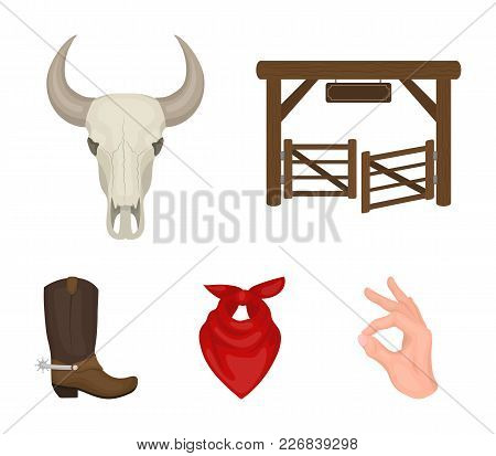Gates, A Bull's Skull, A Scarf Around His Neck, Boots With Spurs. Rodeo Set Collection Icons In Cart