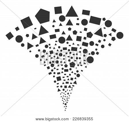 Geometric Figures Burst Fountain. Vector Illustration Style Is Flat Iconic Symbols. Object Fountain