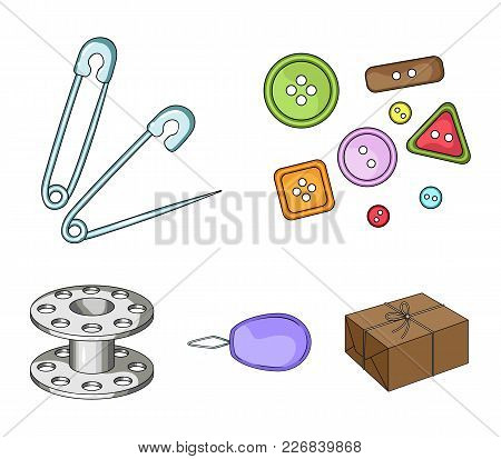 Buttons, Pins, Coil And Thread.sewing Or Tailoring Tools Set Collection Icons In Cartoon Style Vecto