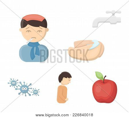 Under A Tap With Water Wash Their Hands, The Patient With A Hot-water Bottle With Ice On His Head In