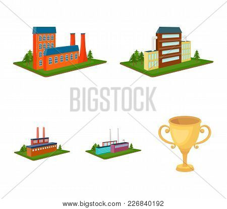 Processing Factory, Metallurgical Plant. Factory And Industry Set Collection Icons In Cartoon Style