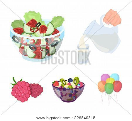 Fruit, Vegetable Salad And Other Types Of Food. Food Set Collection Icons In Cartoon Style Vector Sy