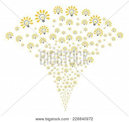 Light Bulb Fireworks Fountain. Vector Illustration Style Is Flat Iconic Symbols. Object Fountain Don