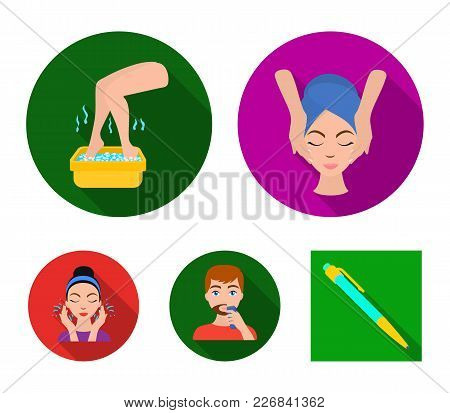 Face Massage, Foot Bath, Shaving, Face Washing. Skin Care Set Collection Icons In Flat Style Vector