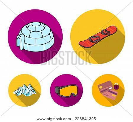 Mountains, Goggles, An Igloo, A Snowboard. Ski Resort Set Collection Icons In Flat Style Vector Symb