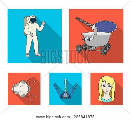 Lunokhod, Space Suit, Rocket Launch, Artificial Earth Satellite. Space Technology Set Collection Ico