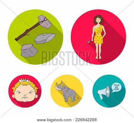 Weapon, Hammer, Elephant, Mammoth .stone Age Set Collection Icons In Flat Style Vector Symbol Stock