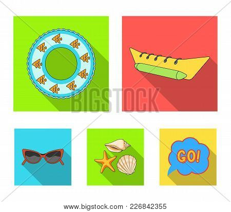 Water Attraction, Seashells, Goggles.summer Vacation Set Collection Icons In Flat Style Vector Symbo