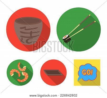 Sticks, Shrimp, Substrate, Bowl.sushi Set Collection Icons In Flat Style Vector Symbol Stock Illustr