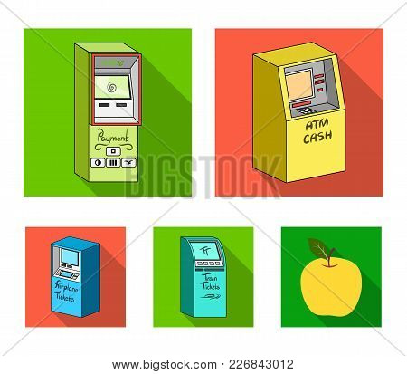 Cash Machine For Cash, Terminal For Payment, Ticket Machine. Terminals Set Collection Icons In Flat
