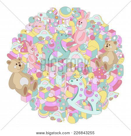 Pastel Cartoon Doodles Baby Toy Vector Illustration. Round Picture With Lots Of Teddy Bear, Rocking