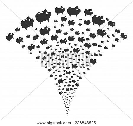 Piggy Bank Exploding Fountain. Vector Illustration Style Is Flat Iconic Symbols. Object Fountain Mad