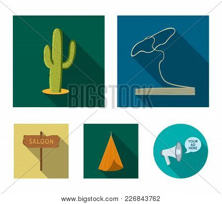 Lasso, Cactus, Wigwam, Saloon Index. Wild West Set Collection Icons In Flat Style Vector Symbol Stoc