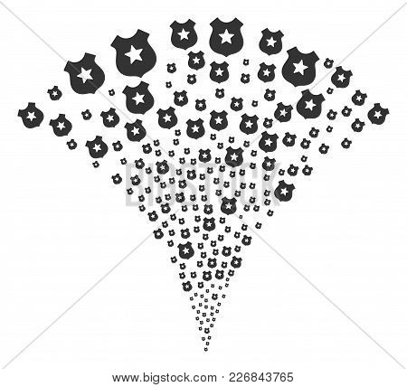 Police Burst Fountain. Vector Illustration Style Is Flat Iconic Symbols. Object Fountain Organized F