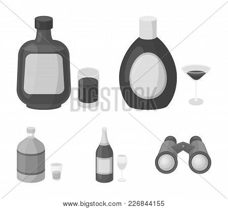Liquor Chocolate, Champagne, Absinthe, Herbal Liqueur.alcohol Set Collection Icons In Monochrome Sty